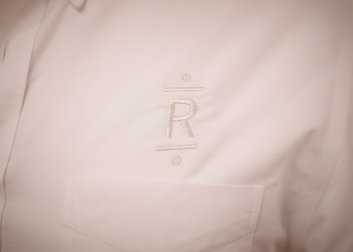 Roger's embroidered monogram barber shirt